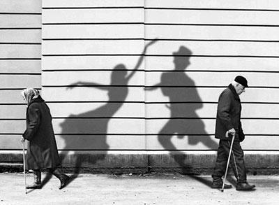 Mature adult couple street dance