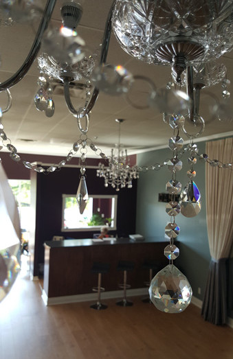 Beautiful posh chandeliers and decor