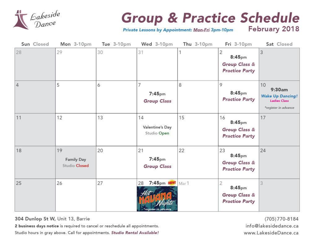 Dance Classes for Adults February 2018 Barrie
