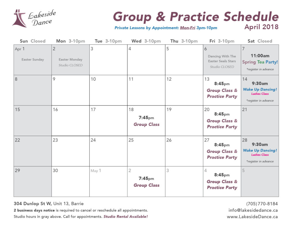 Dance Classes in Barrie Spring 2018
