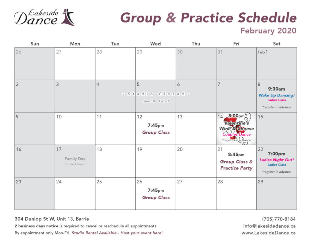 February Dance Classes for Adults in Barrie